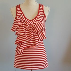 Love On A Hanger Lace Back Red & Cream Striped Top